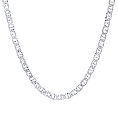 3.7mm Solid 925 Sterling Silver Flat Mariner Link Italian Chain,