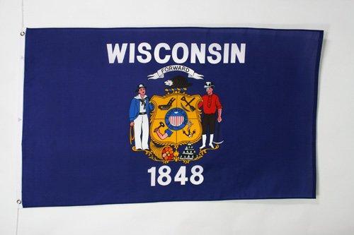 AZ FLAG Flagge Wisconsin 150x90cm - Bundesstaat Wisconsin Fahne 90 x 150 cm - flaggen Top Qualität