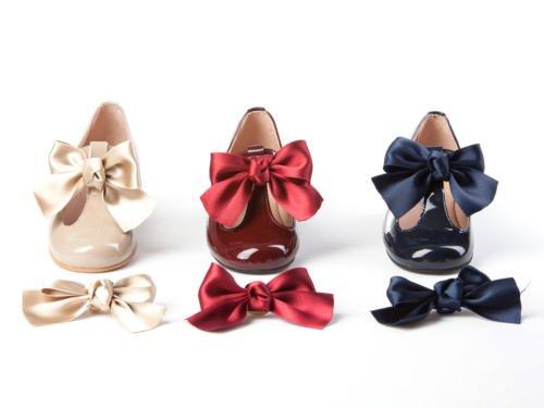 Merceditas En Cuir Verni avec Boucle pour filles tout mod. 516. Chaussure Enfant Made in Spain, garantie de qualité. Bleu Marine