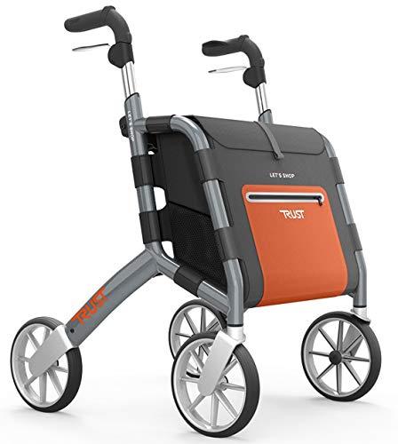 TrustCare Rollator Let\'s Shop Faltbarer Aluminium Rollator Gehhilfe Gehwagen Griffhöhe Von 76cm Bis 95cm Sitzhöhe 60cm Belastbar Bis 130kg