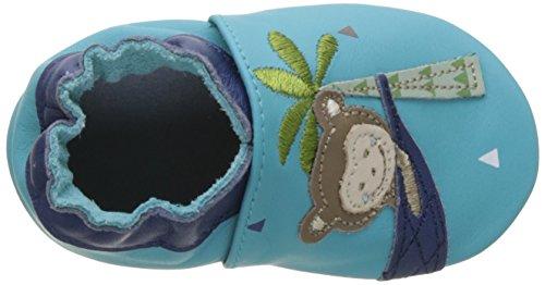 Robeez Lazy Monkey, Chaussures de Naissance Bébé Garçon Bleu (Turquoise)