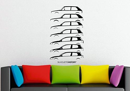 Volkswagen Golf, adesivo grande da parete, motivo: silhouette, arte in vinile