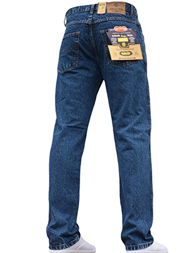 Mens Straight Leg Heavy Duty Work Basic 5 Pocket Plain Denim Jeans Pants All Waist & Sizes Stonewash 32W X 29L