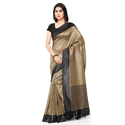 Rajnandini Women's Tussar Art Silk Saree (Joplnb3011D, Black Color, Free Size)