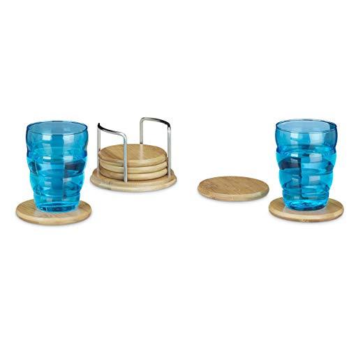 Relaxdays Dessous de verre 7 pièces avec support en bambou verre boissons bois bière 9,5 cm diamètre environ, nature