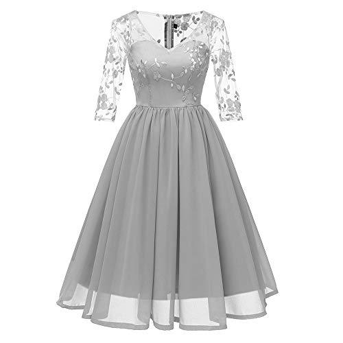 TWIFER Damen Kleidung Vintage Prinzessinenkleid Blumenspitze Cocktail Abendkleider Swing Kleid -