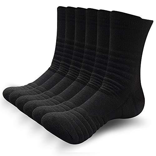 SUNWIND Unisex 6 Paar Sportsocken Atmungsaktiv Gepolsterte Lauftrainer Crew Socken Komfortable Athletische Wadensocken für Herren & Damen (Schwarz, UK 12-15 (EU 47-50))