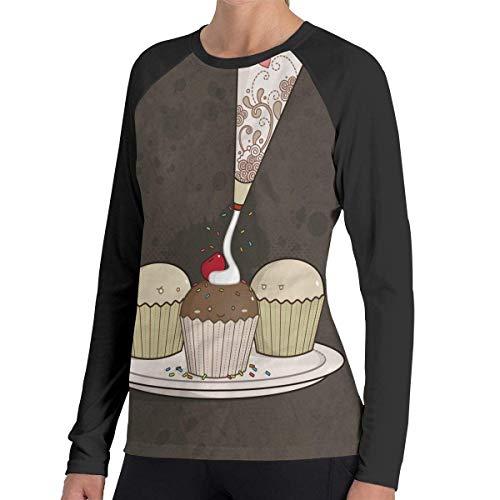Herren Langarm Classic T-Shirt, Women's Casual Cupcake Long Reglan T-Shirt -
