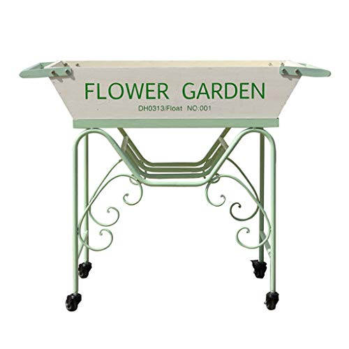 Holz Float (JNYZQ Weiß Grün Schmiedeeisen Holz Float Cart Save Blumenständer Garten Villa Fenster Dekoration Rahmen)