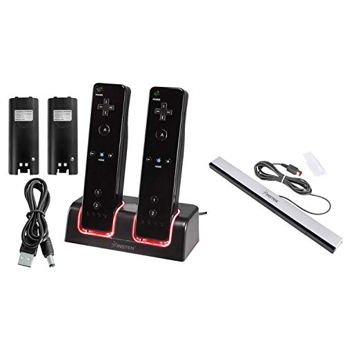 Insten Schwarze Fernbedienung Dual-Ladestation w / 2 wiederaufladbare 2800 mAh Batterie + Wired Sensor Bar Kompatibel mit Nintendo Wii / Wii U