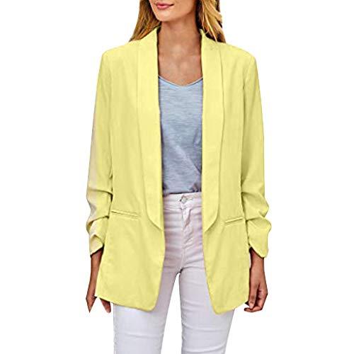 LSAltd Frauen Fashion Classic Elegant Open Front Fit Büro Blazer Jacke Lässig Reine Farbe Geraffte Langarm Strickjacke Anzug Mantel