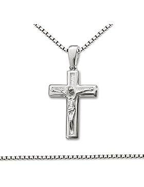 CLEVER SCHMUCK Silberner Anhänger Kreuz mit Jesus 21 mm innen matt gemustert, Jesus und Kreuz außen glänzend mit...