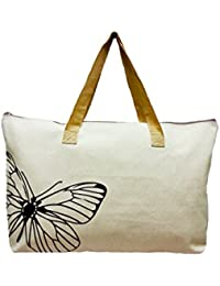 LinNaDa Eco Bag, Eco Friendly Tote Bag Natural Color 21.5 W X14.5 Tx 5Bottom Gusset (Natural Color Butterfly Pic...