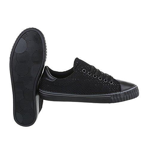 Sneakers Low Damenschuhe Sneakers Low Sneakers Schnürsenkel Ital-Design Freizeitschuhe Schwarz B3143B-SP