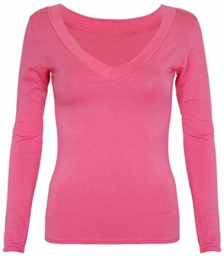 Neu Damen Langärmlig V-ausschnitt T-Shirt Top Damen Freizeit Stretch Fit Schlicht Alltag Oberteile Koralle