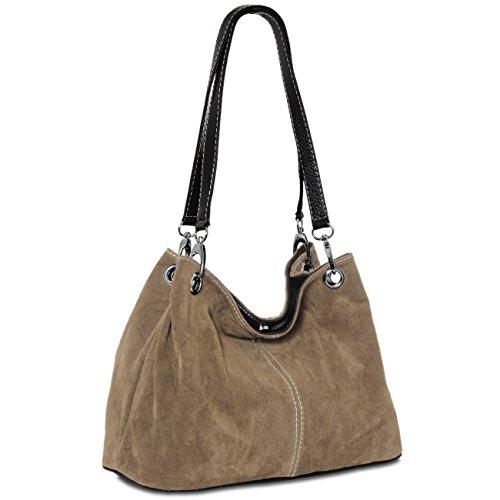 CASPAR klassische Damen Ledertasche / Handtasche / Schultertasche aus Wildleder - viele Farben - TL621, Farbe:khaki