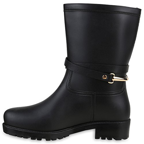 Damen Gummistiefel Nieten Metallic Stiefel Regen Schuhe Wasserdicht Schwarz