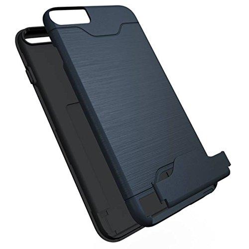 Coque iPhone 6, Housse iPhone 6S, GrandEver Soft Silicone Souple Etui pour iPhone 6S/6 Housse Solide Avec support de carte Supporter Stand Fonction iPhone 6 Noir Case TPU Bumper Haute qualité Caoutcho Bleu