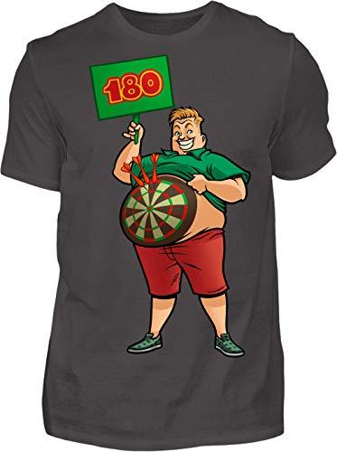 Kreisligahelden T-Shirt Herren 180 Triple 20 - Kurzarm Shirt Baumwolle mit Motiv Aufdruck - Hobby Freizeit Fun Dart Darts 180 (3XL, Anthrazit)