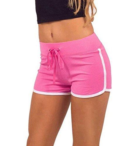 Minetom donne ragazze estate tempo libero sport pantaloncini casuale in esecuzione yoga formazione pantaloncini rosa eu s