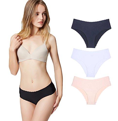 Misolin Damen Slips Nahtlos Unterwäsche Bikinis Taillenslips Seamless Unsichtbare Dehnbare Bequeme Panties Hipsters 3 Pack Schwarz/Beige/Weiß S -