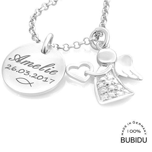 Taufkette Mädchen mit Gravur  Namenskette Taufe Silber  Taufschmuck Engel Taufgeschenk Geburt Kette Schutzengel Baby Heilige Taufe | HANDMADE IN GERMANY