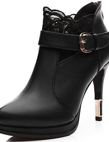 WSS 2016 Chaussures Femme-Décontracté / Soirée & Evénement-Noir-Talon Aiguille-Talons-Chaussures à Talons-Microfibre black-us6.5-7 / eu37 / uk4.5-5 / cn37