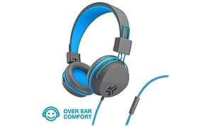 JLab JBuddies Studio Kids Blau - Over-Ear-Kopfhörer (Mikrofon, 1-Tasten-Fernbedienung, Lautstärkebegrenzer)