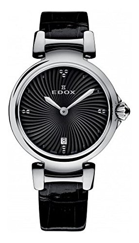 Edox Womens Analog Swiss-Quartz Watch with Leather Calfskin Strap 57002 3C NIN