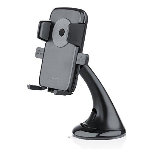 Arendo KFZ Smartphone Halterung mit Kugelgelenk 360° und Saugnapf | Auto / KFZ Universalthalterung | max. 7,5cm Breite | Easy One-Touch-Verschluss | geeignet für Handys / Smartphones / Phablets / Navigationsgeräte | tragbar | kompatibel mit Bumper / Case / Hülle