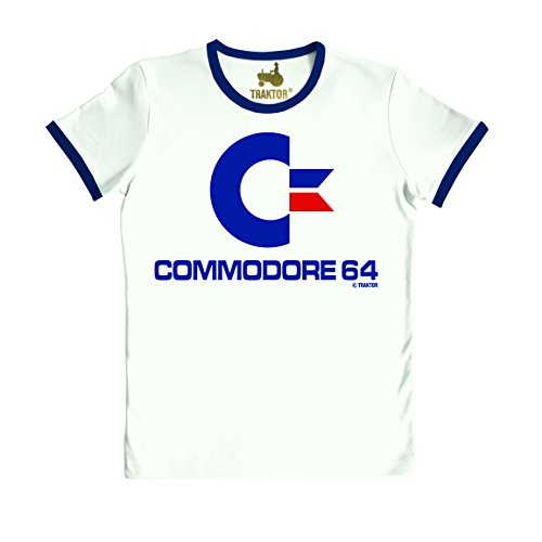 Slim Fit Commodore 64 Ringer T-shirt, White - XS or Small