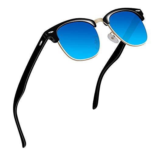 VVA Gafas de sol polarizadas clásico retro medio marco para Hombre y Mujer V1002(Negro Azul)