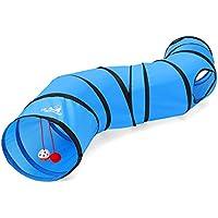 Pawaboo Túnel de gato, plegables Túneles de Tubo en forma de S, Juguete interactivo con pompon y campanas para gato conejo de gatito cachorro, Azul