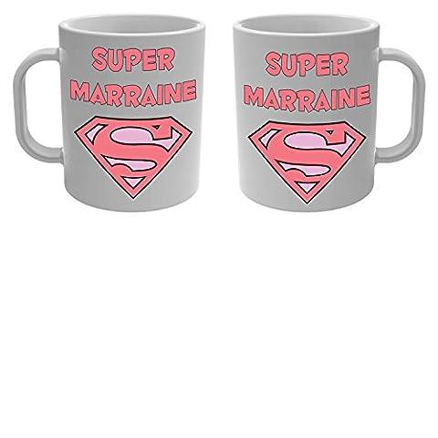 Yonacrea - Mug Tasse - Super Marraine - Baptême Naissance