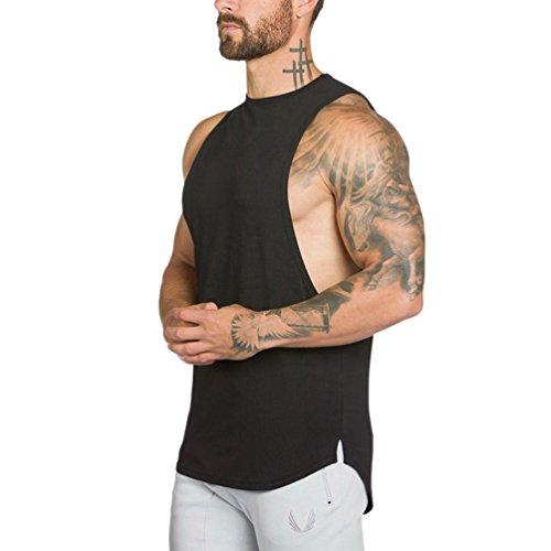 Dooxi Herren Ärmellos Ausbildung Fitness Weste Rundhals Atmungsaktive Muscle Gym T-Shirts Bodybuilding Tops Schwarz M -