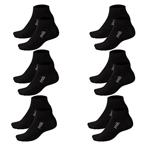 pandoo 6er Packung Bambus Sneaker-Socken Unisex - Perfekt für Sport & Freizeit - Atmungsaktiv, Anti-Schweiß, Komfortbund ohne Gummi, Geruchshemmend & Antibakteriell (39/42, Schwarz) -