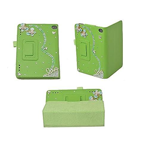 Evtech (tm) Tablet 3D Bling Crystal Diamond strass Kindle Fire HD Display 10 pouces (2015 sortie uniquement) Fole Case Slim Fit Cuir Housse de protection permanent avec Auto / Veille métrage - Vert