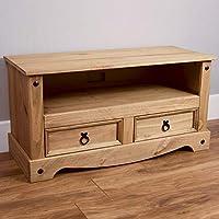 Vida Designs Corona TV Stand Flat Screen Unit, Solid Pine Wood