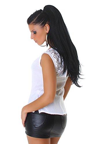 Jela London Damen Shirt T-Shirt aus Chiffon mit Spitze und Cutout verführerisch Weiß