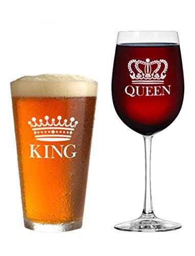 King Bier Queen Wein Glas 2er Set-Geschenk für Paare-Valentinstag Geschenk, Jahrestag Geschenk, Newlyweds Geschenke, Mann und Frau, HIS und HERS, Herr und Frau Bier Becher + Vino Glas Einzugs Set