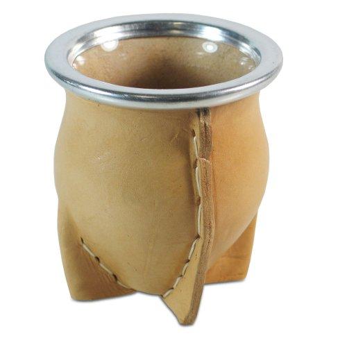 Mate Becher Mate de vidrio vaqueta natural Glasmatebecher) (Vaqueta-leder)
