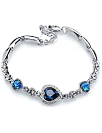 Valentine Gift By Shining Diva Blue Crystal Charm for Girls and Women
