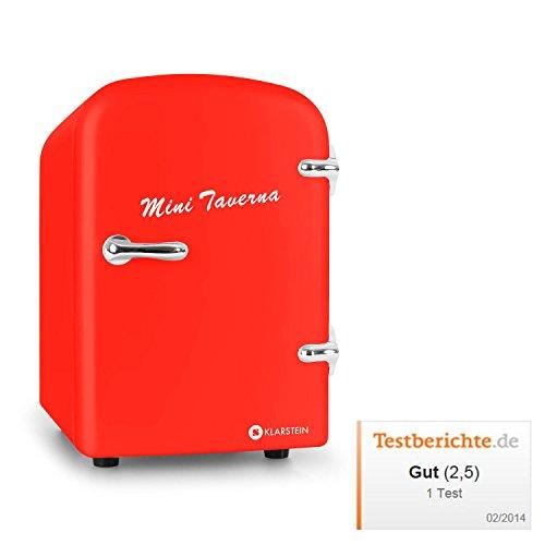 Klarstein Bella Taverna Mini Kühlschrank Getränkekühlschrank Warmhaltebox (4 Liter, Tragegriff, Netz- oder via 12 V-Betrieb, Regaleinschub) rot