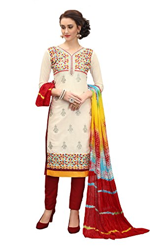 Kimisha Embroidered Cotton Salwar kameez in Cream Color