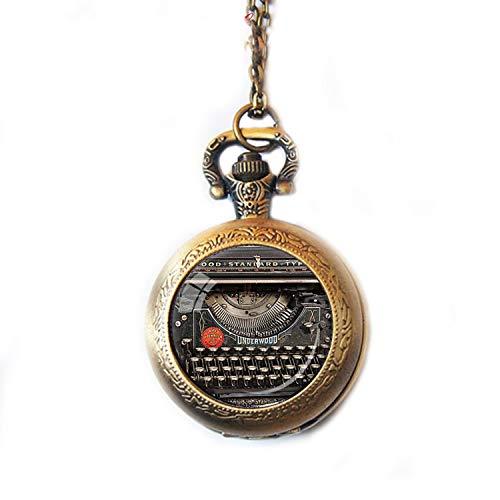 r im Vintage-Stil, für Schreibmaschine, Schreibmaschine, Uhr, Halskette, Schriftsteller, Uhr, Schwarz/Rot/Grau ()