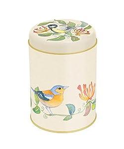 Jardin Oiseaux–Emma Ball Jardin Oiseaux sur motif Chèvrefeuille–Ronde Boîte à café/thé/cuisine Boîte de rangement/boîte à