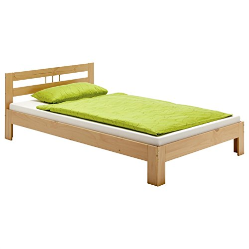 Massivholzbett THEO Jugendbett Bettgestell Einzelbett mit Kopfteil Kiefer massiv 90 x 200 cm in buchefarben lackiert