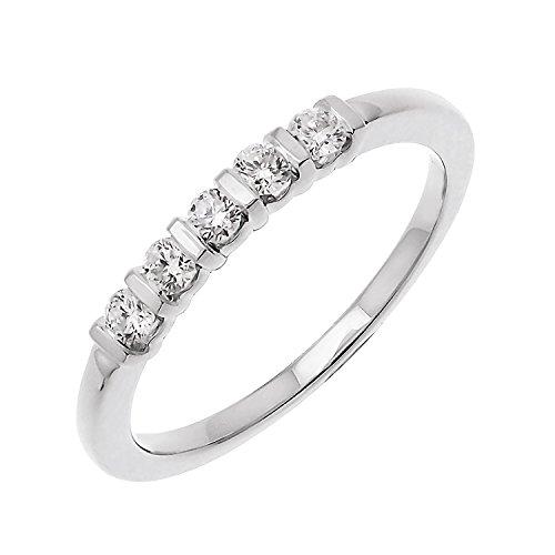 Igi certificato fedina oro 18k con pavé di diamanti (1/4ct), oro bianco, 18 ct, 12,5, cod. rg44791-i1i2-18kw-6.5