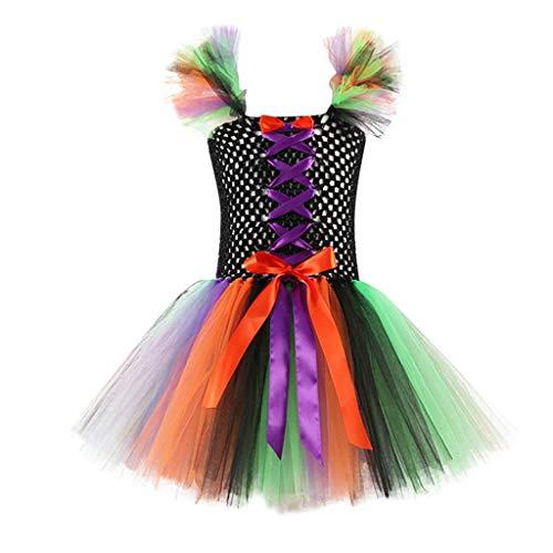 Riou Baby Kostüm Halloween Kostüm Kinder Baby Mädchen Hexenkostüm Karneval Fasching Paty Cospaly Costume Tüll Tutu Rock Bogen Prinzessin Outfits Set (100, - Minion Kostüm Für 1 Jahr Alt