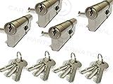 SecEURO Locks Euro-Türschlösser 30/30, vernickelt, gleichschließend, 3 Schlüssel pro Schloss, 4 Stück
